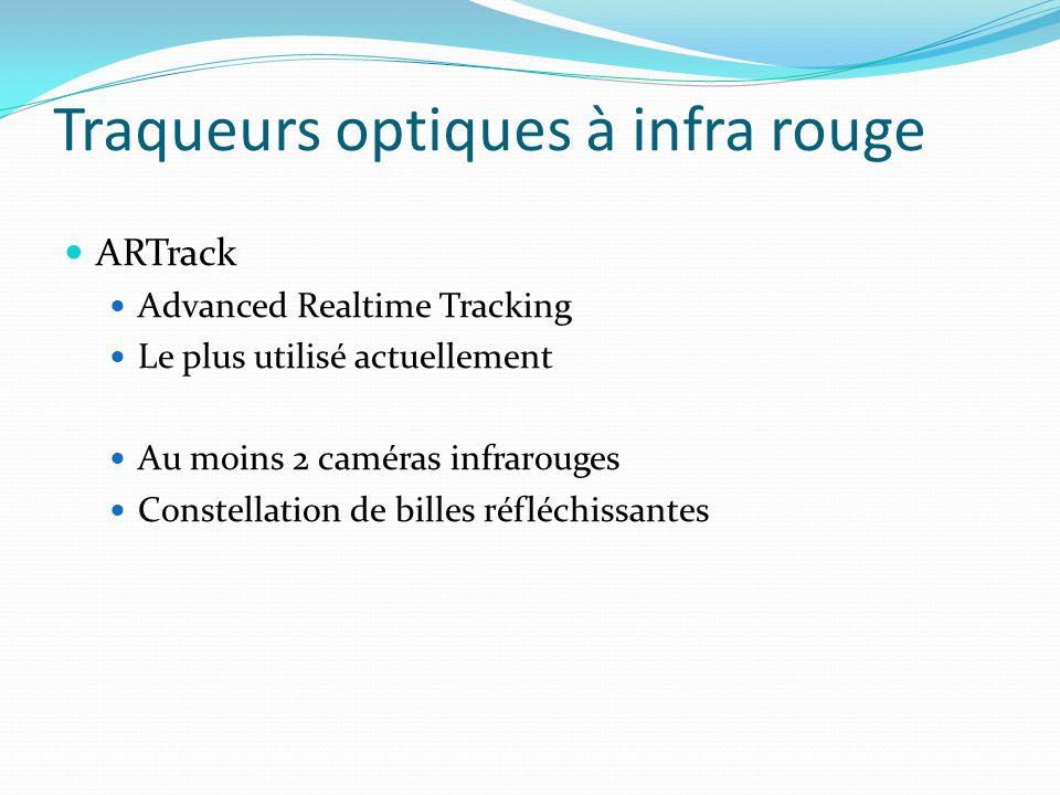 Traqueurs optiques à infra rouge ARTrack Advanced Realtime Tracking Le plus utilisé actuellement Au moins 2 caméras infrarouges Constellation de bille