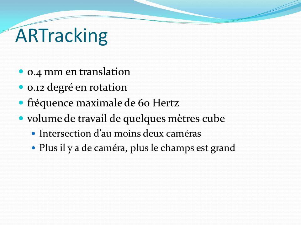 0.4 mm en translation 0.12 degré en rotation fréquence maximale de 60 Hertz volume de travail de quelques mètres cube Intersection dau moins deux camé