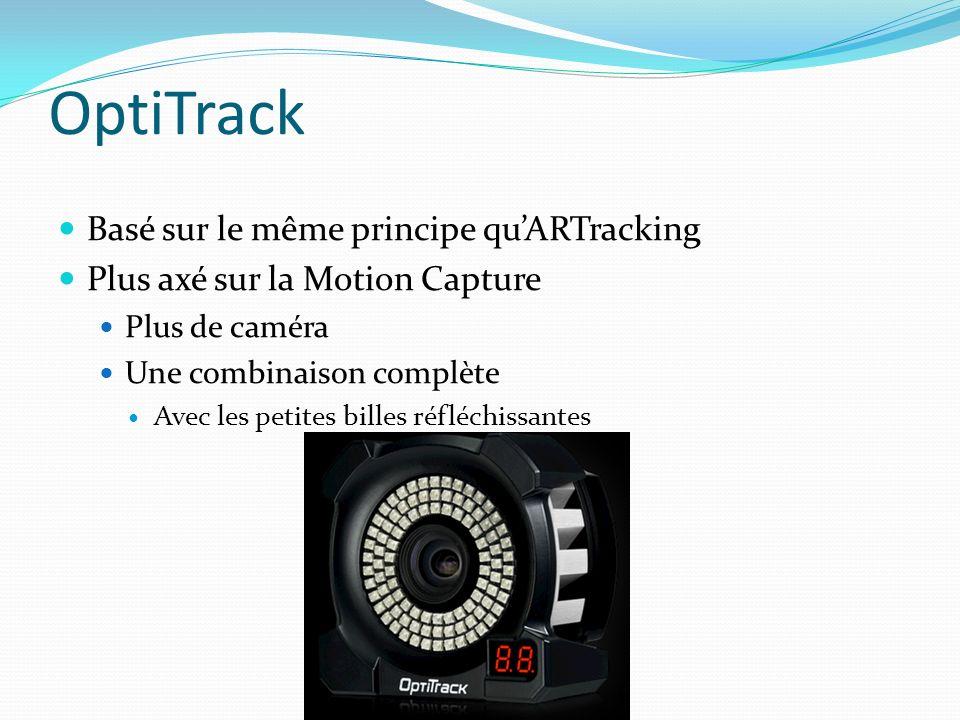 OptiTrack Basé sur le même principe quARTracking Plus axé sur la Motion Capture Plus de caméra Une combinaison complète Avec les petites billes réfléc