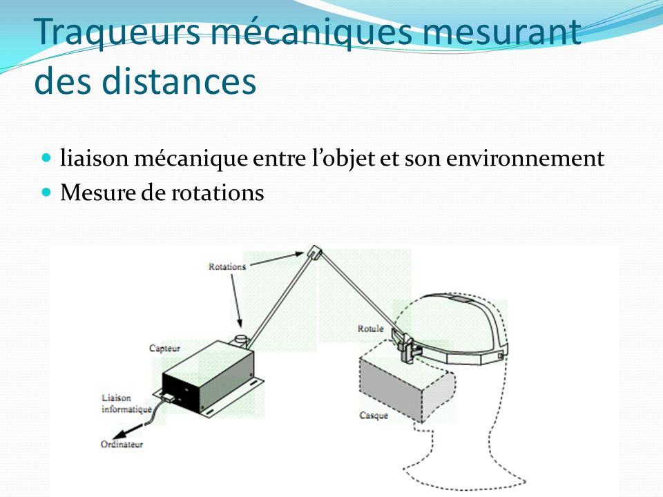 Traqueurs mécaniques mesurant des distances liaison mécanique entre lobjet et son environnement Mesure de rotations