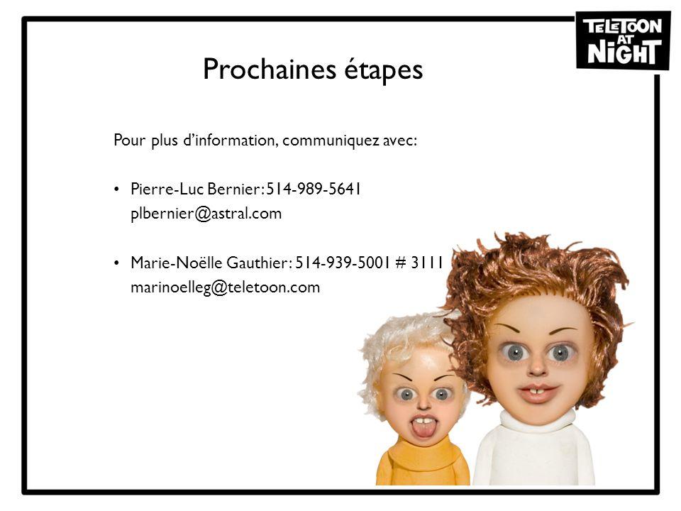 Prochaines étapes Pour plus dinformation, communiquez avec: Pierre-Luc Bernier: 514-989-5641 plbernier@astral.com Marie-Noëlle Gauthier: 514-939-5001