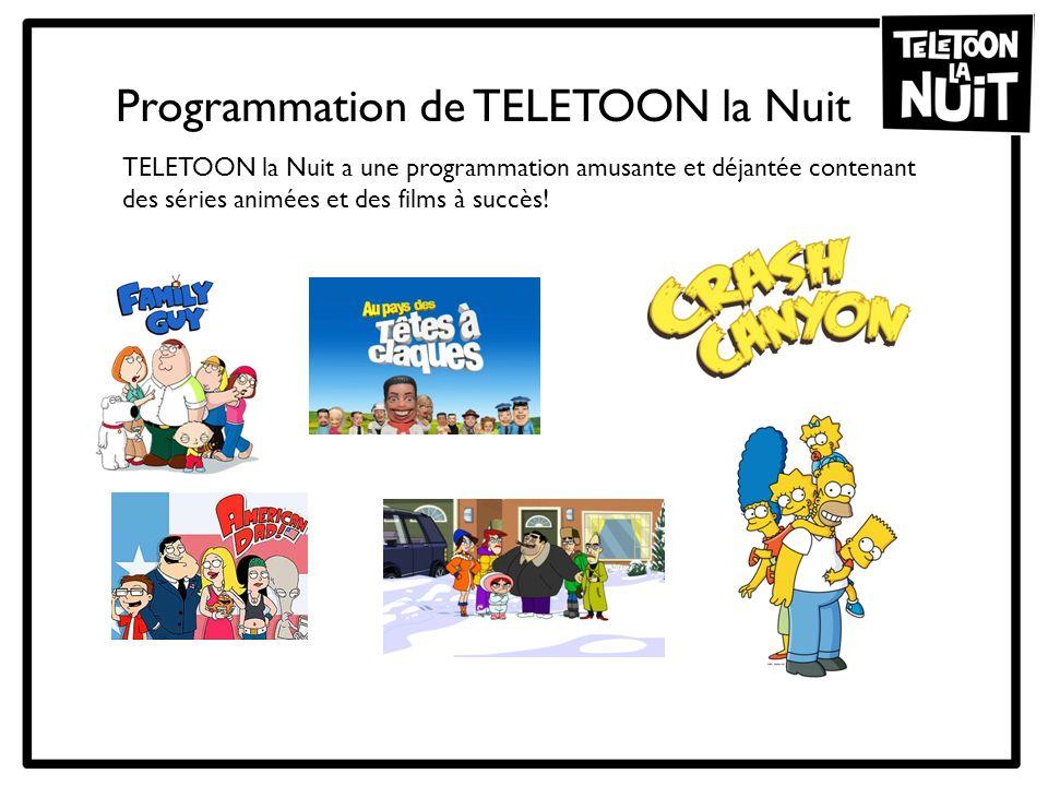 TELETOON la Nuit a une programmation amusante et déjantée contenant des séries animées et des films à succès! Programmation de TELETOON la Nuit