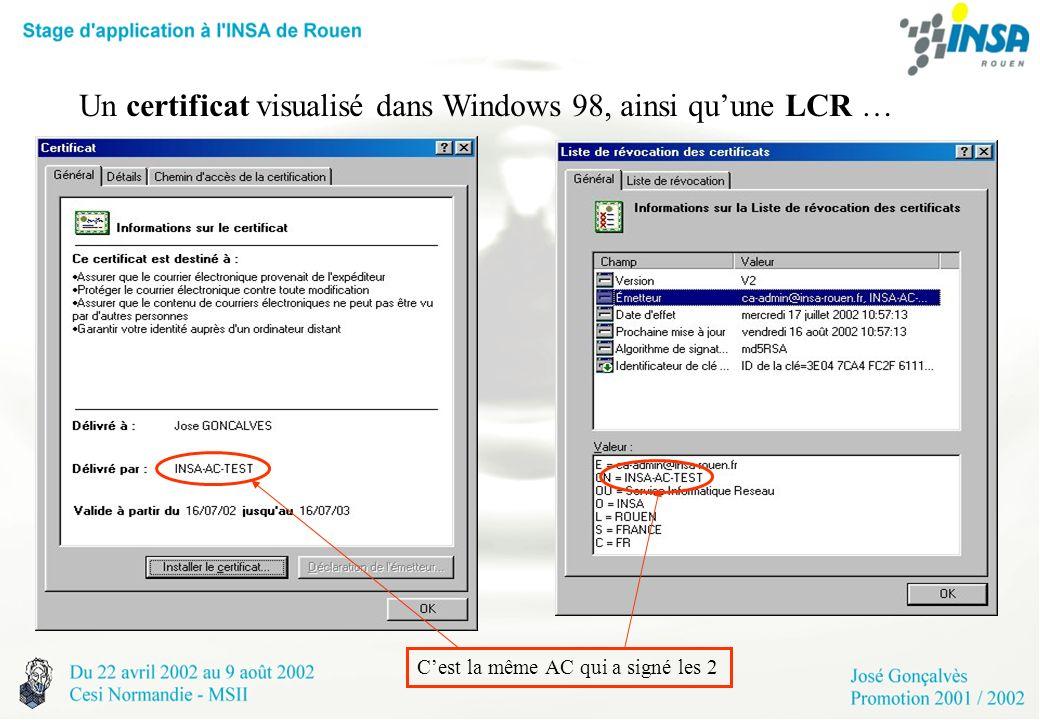 Un certificat visualisé dans Windows 98, ainsi quune LCR … Cest la même AC qui a signé les 2