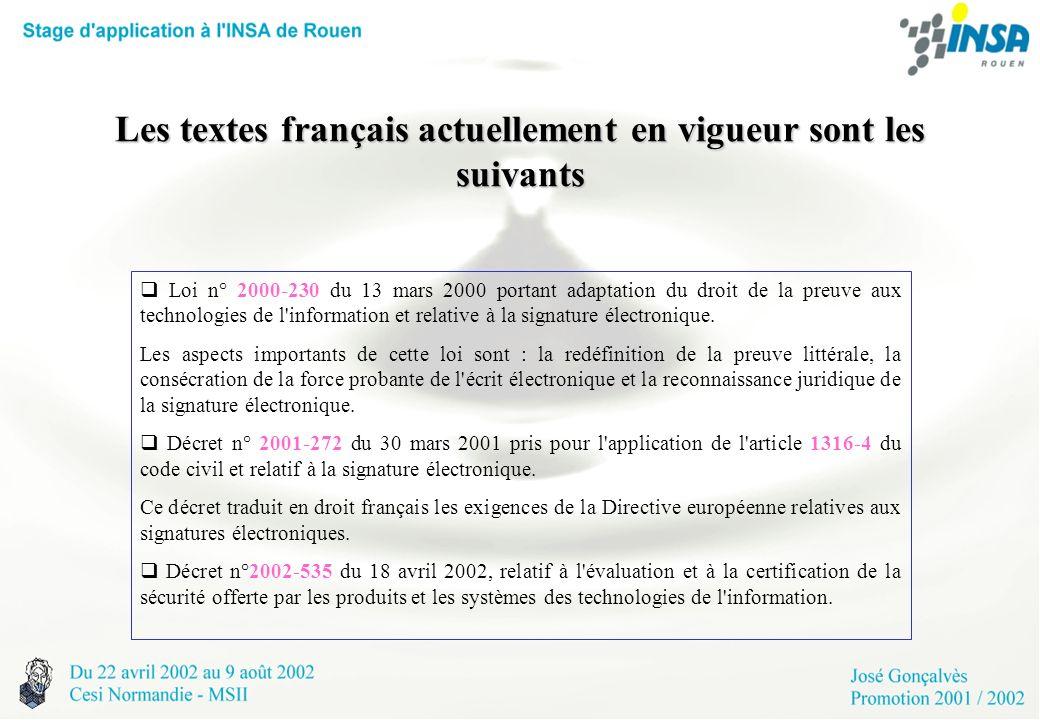 Les textes français actuellement en vigueur sont les suivants Loi n° 2000-230 du 13 mars 2000 portant adaptation du droit de la preuve aux technologie