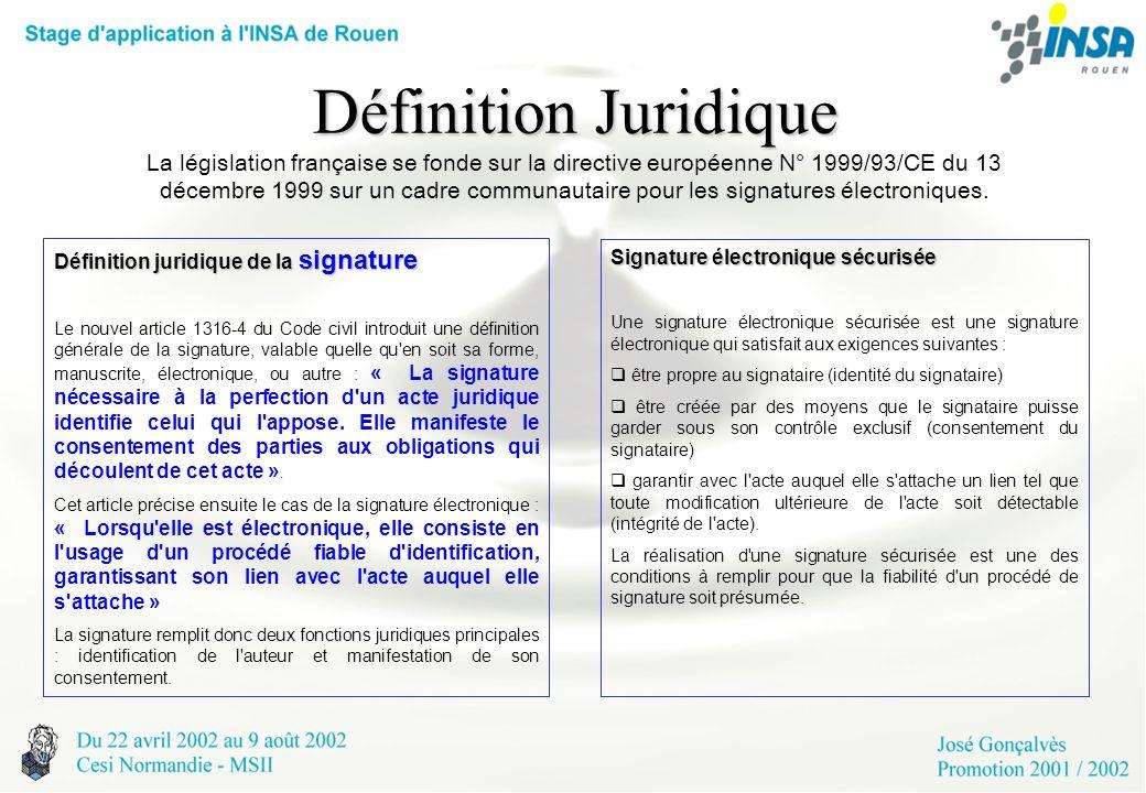 Définition Juridique Définition Juridique La législation française se fonde sur la directive européenne N° 1999/93/CE du 13 décembre 1999 sur un cadre