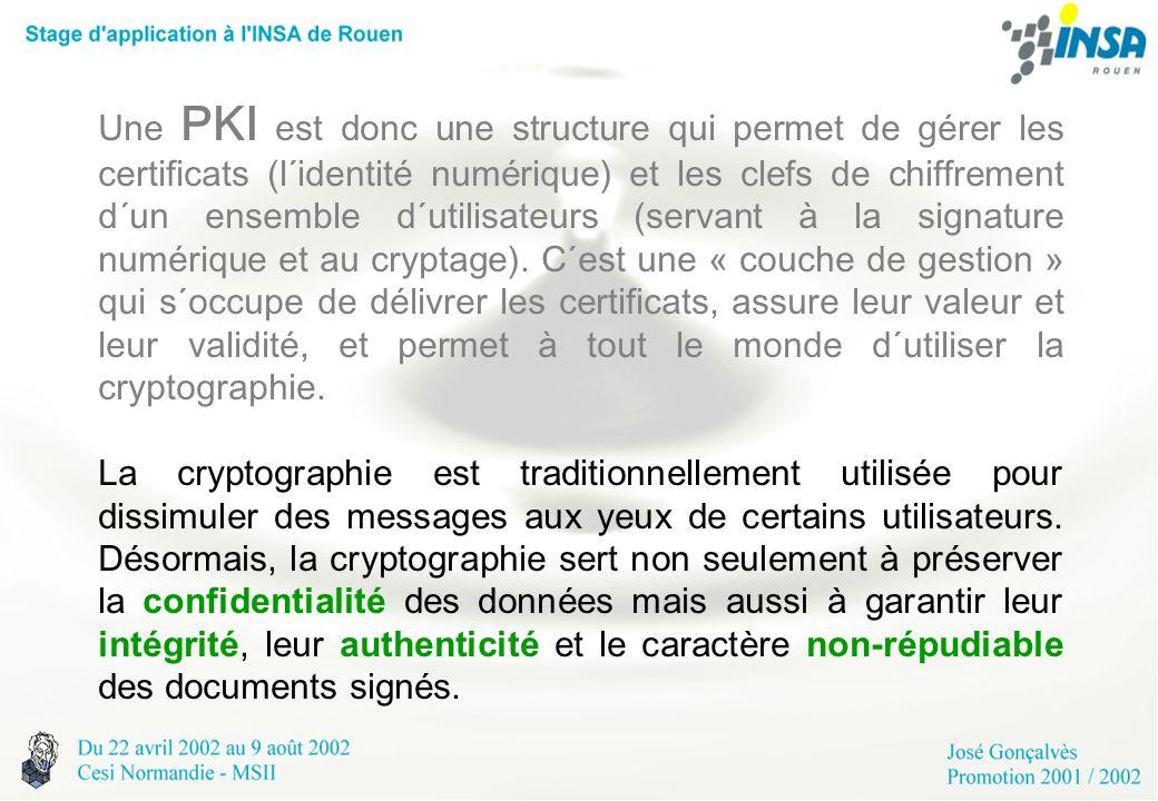 Une PKI est donc une structure qui permet de gérer les certificats (l´identité numérique) et les clefs de chiffrement d´un ensemble d´utilisateurs (se