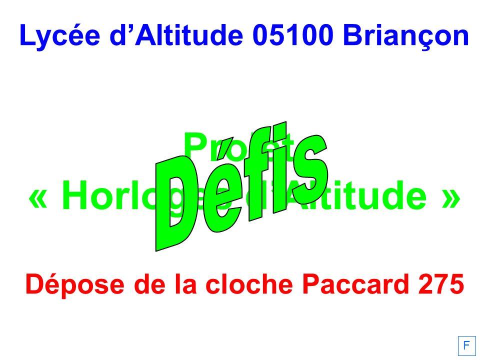 Lycée dAltitude 05100 Briançon Projet « Horloges dAltitude » Dépose de la cloche Paccard 275 F