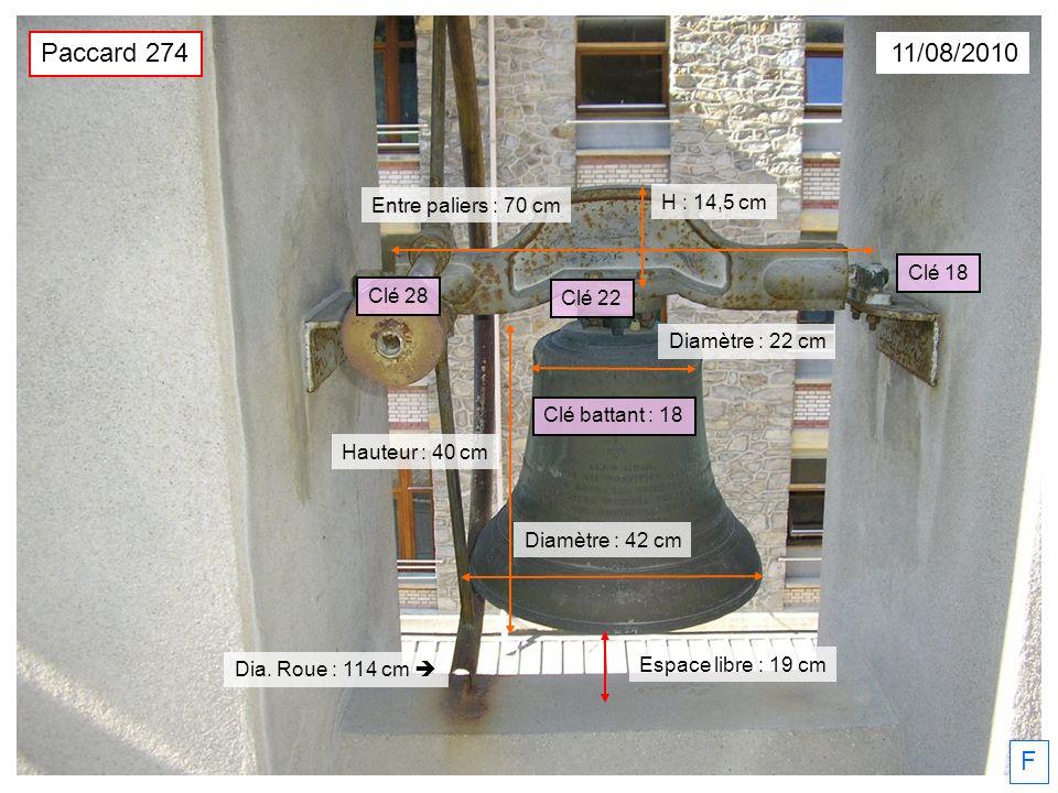 Paccard 274 F Espace libre : 19 cm Diamètre : 42 cm Diamètre : 22 cm Entre paliers : 70 cm Hauteur : 40 cm H : 14,5 cm Dia. Roue : 114 cm Clé 18 Clé 2
