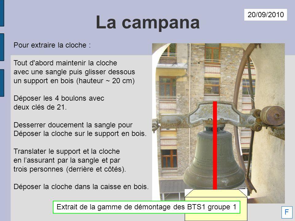 La campana Pour extraire la cloche : Tout d'abord maintenir la cloche avec une sangle puis glisser dessous un support en bois (hauteur ~ 20 cm) Dépose