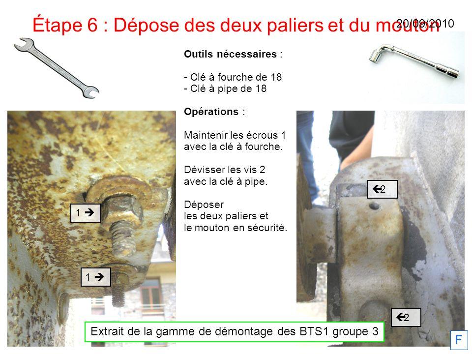 Étape 6 : Dépose des deux paliers et du mouton 2 2 1 1 Outils nécessaires : - Clé à fourche de 18 - Clé à pipe de 18 Opérations : Maintenir les écrous
