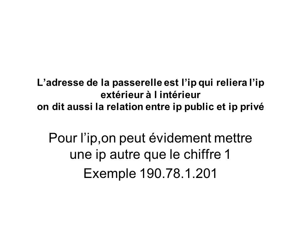 Ladresse de la passerelle est lip qui reliera lip extérieur à l intérieur on dit aussi la relation entre ip public et ip privé Pour lip,on peut évidement mettre une ip autre que le chiffre 1 Exemple 190.78.1.201