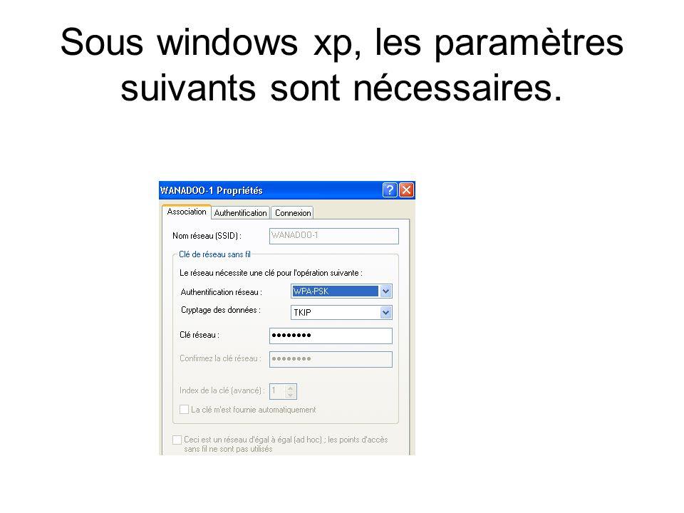 Sous windows xp, les paramètres suivants sont nécessaires.