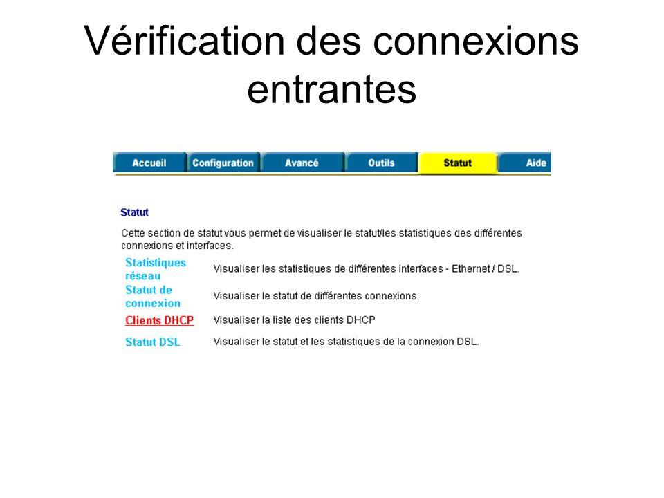 Vérification des connexions entrantes