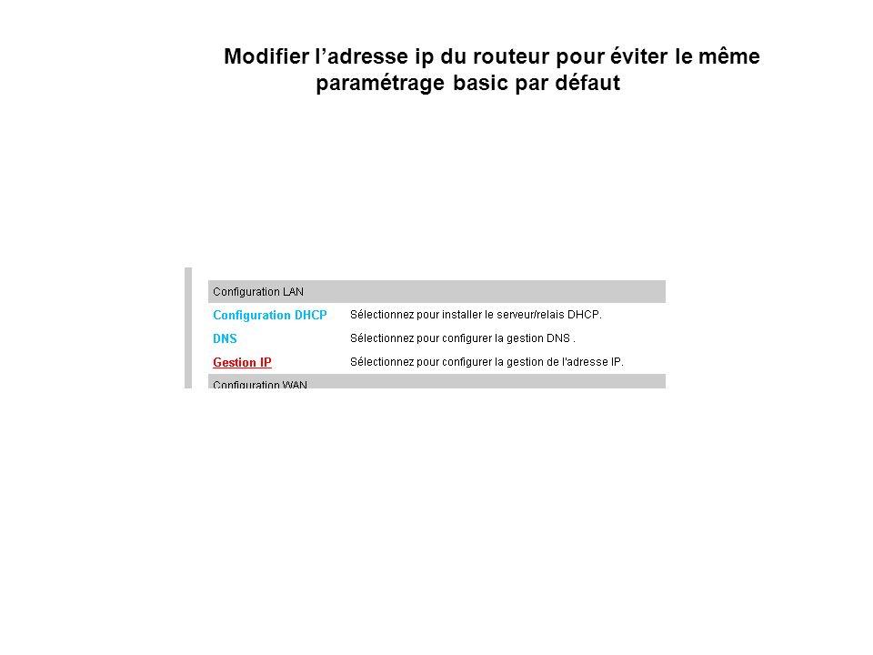 Modifier ladresse ip du routeur pour éviter le même paramétrage basic par défaut