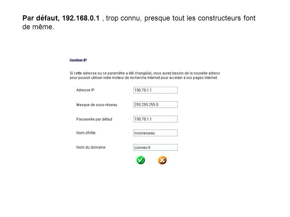 Par défaut, 192.168.0.1, trop connu, presque tout les constructeurs font de même.