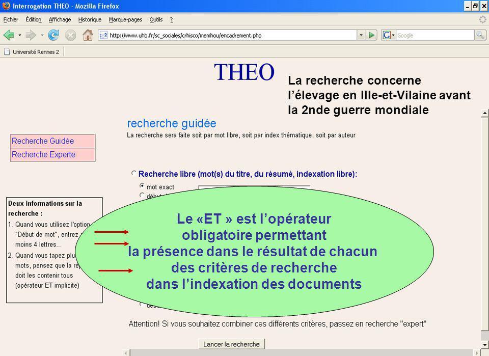 La recherche concerne lélevage en Ille-et-Vilaine avant la 2nde guerre mondiale Le «ET » est lopérateur obligatoire permettant la présence dans le résultat de chacun des critères de recherche dans lindexation des documents