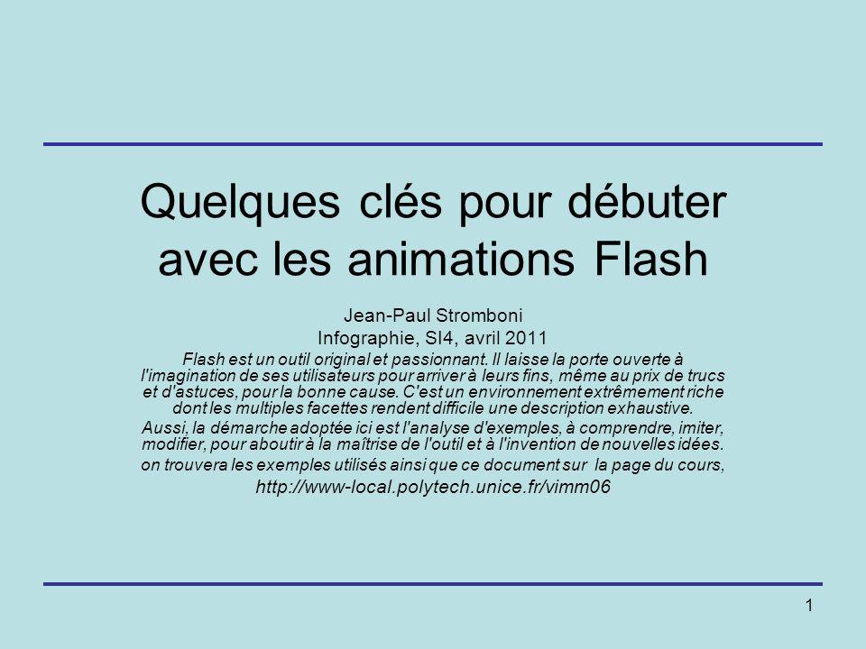 1 Quelques clés pour débuter avec les animations Flash Jean-Paul Stromboni Infographie, SI4, avril 2011 Flash est un outil original et passionnant. Il