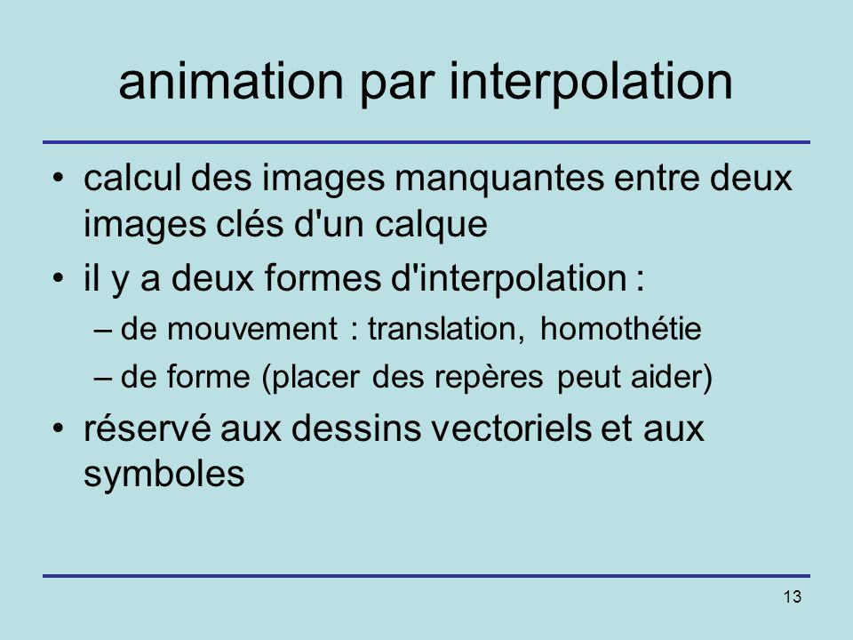 13 animation par interpolation calcul des images manquantes entre deux images clés d'un calque il y a deux formes d'interpolation : –de mouvement : tr