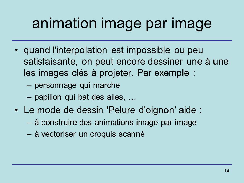 14 animation image par image quand l'interpolation est impossible ou peu satisfaisante, on peut encore dessiner une à une les images clés à projeter.