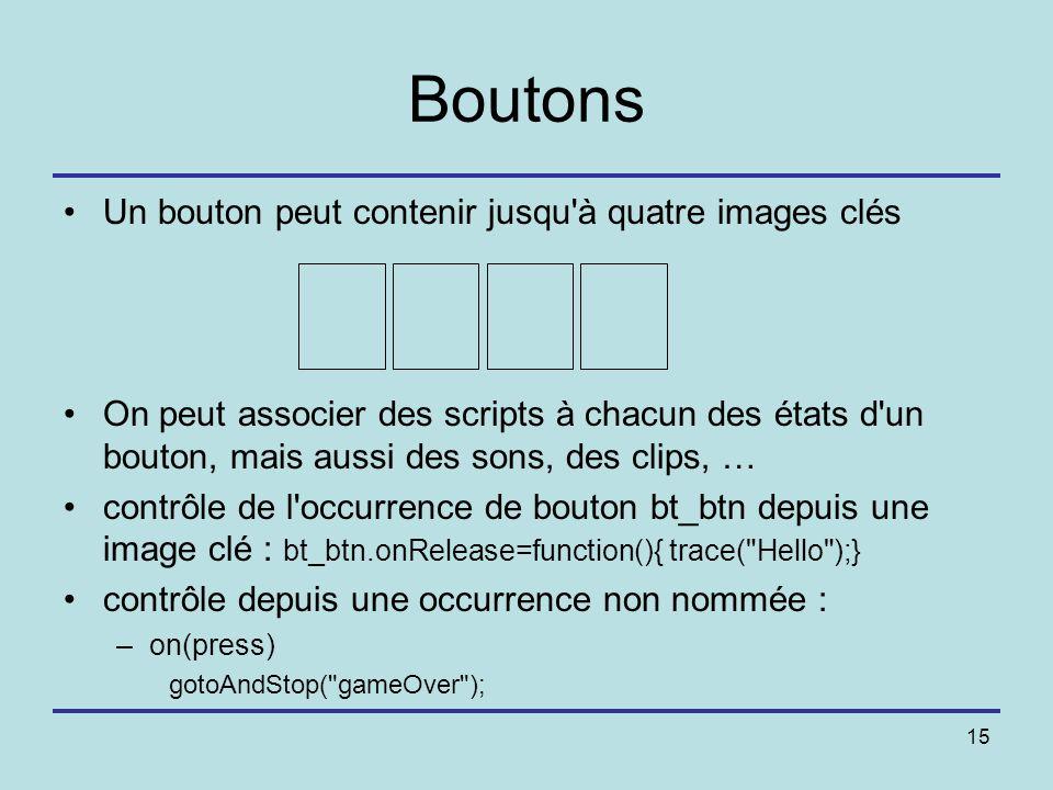 15 Boutons Un bouton peut contenir jusqu'à quatre images clés On peut associer des scripts à chacun des états d'un bouton, mais aussi des sons, des cl