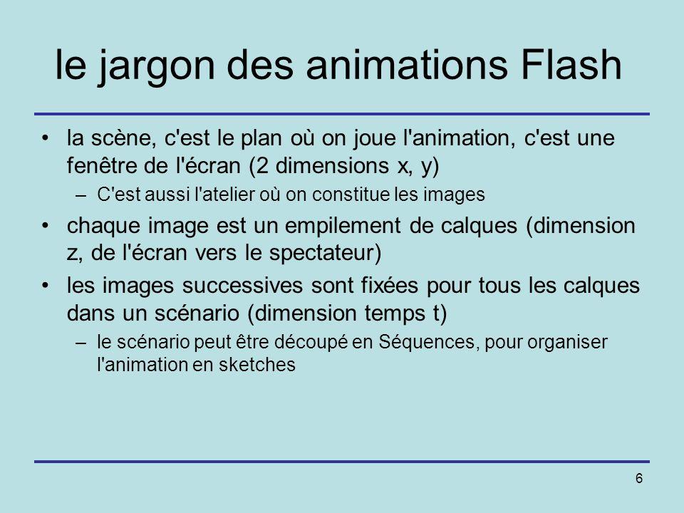 6 le jargon des animations Flash la scène, c'est le plan où on joue l'animation, c'est une fenêtre de l'écran (2 dimensions x, y) –C'est aussi l'ateli