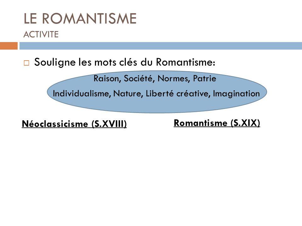 LE ROMANTISME ACTIVITE Souligne les mots clés du Romantisme: Raison, Société, Normes, Patrie Individualisme, Nature, Liberté créative, Imagination Néo