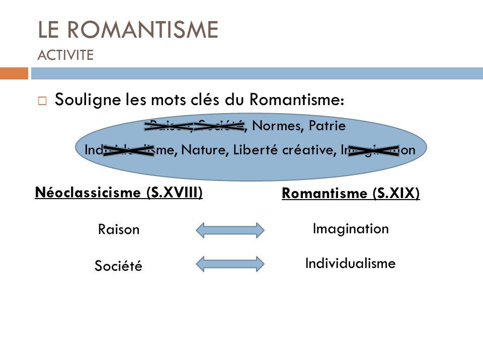 LE ROMANTISME ACTIVITE Souligne les mots clés du Romantisme: Raison, Société, Normes, Patrie Individualisme, Nature, Liberté créative, Imagination Rom
