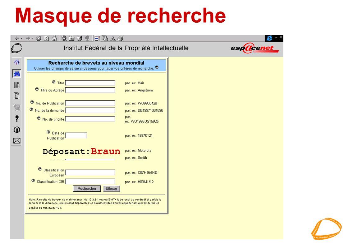 Masque de recherche Déposant :Braun