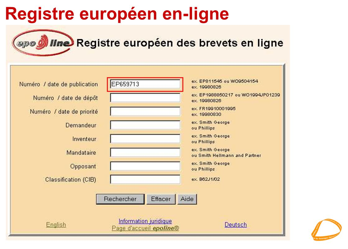 Registre européen en-ligne