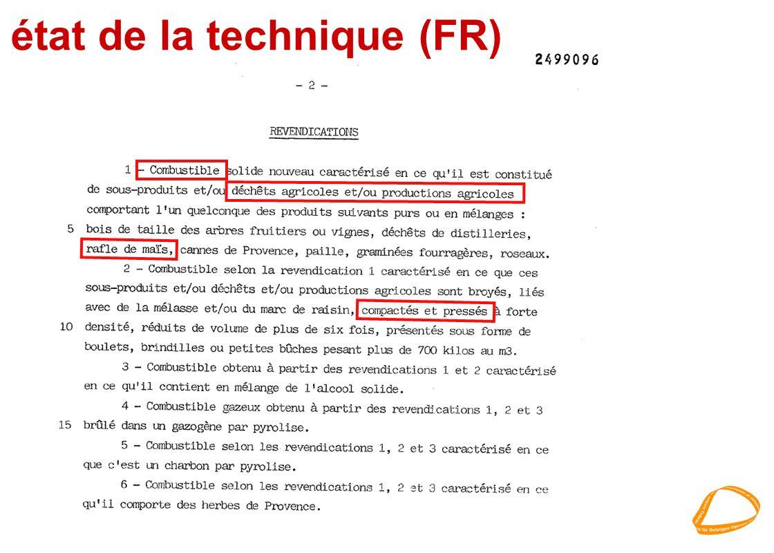 état de la technique (FR)