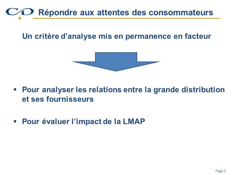 Page 2 Répondre aux attentes des consommateurs Un critère danalyse mis en permanence en facteur Pour analyser les relations entre la grande distribution et ses fournisseurs Pour évaluer limpact de la LMAP