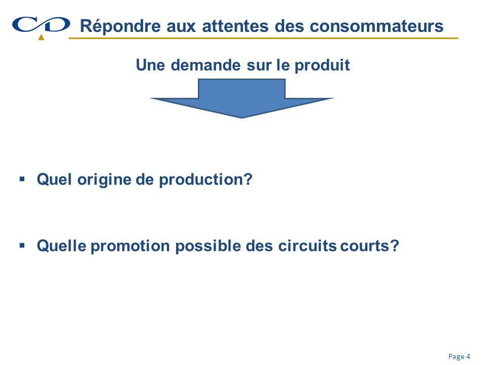 Page 4 Répondre aux attentes des consommateurs Une demande sur le produit Quel origine de production.