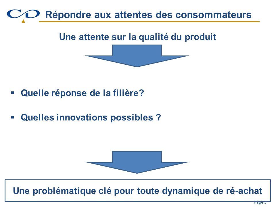 Page 5 Répondre aux attentes des consommateurs Une attente sur la qualité du produit Quelle réponse de la filière.