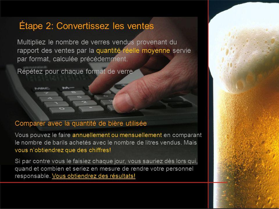 Étape 2: Convertissez les ventes Comparer avec la quantité de bière utilisée Vous pouvez le faire annuellement ou mensuellement en comparant le nombre de barils achetés avec le nombre de litres vendus.