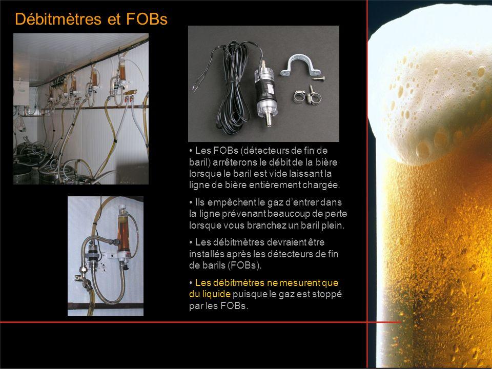 Les FOBs (détecteurs de fin de baril) arrêterons le débit de la bière lorsque le baril est vide laissant la ligne de bière entièrement chargée. Ils em