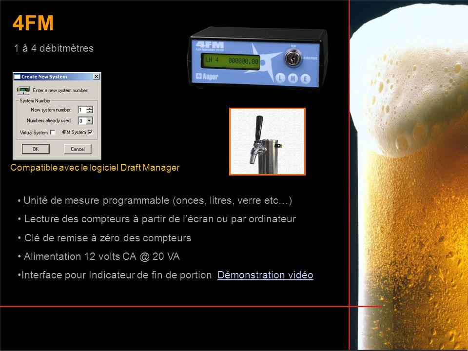 Unité de mesure programmable (onces, litres, verre etc…) Lecture des compteurs à partir de lécran ou par ordinateur Clé de remise à zéro des compteurs