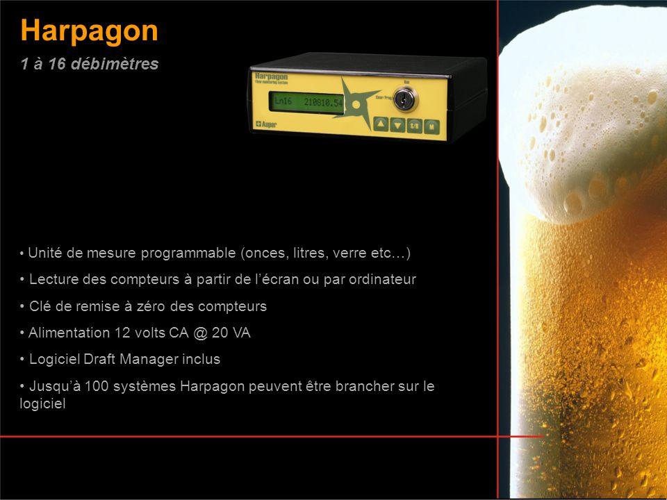 Harpagon Unité de mesure programmable (onces, litres, verre etc…) Lecture des compteurs à partir de lécran ou par ordinateur Clé de remise à zéro des
