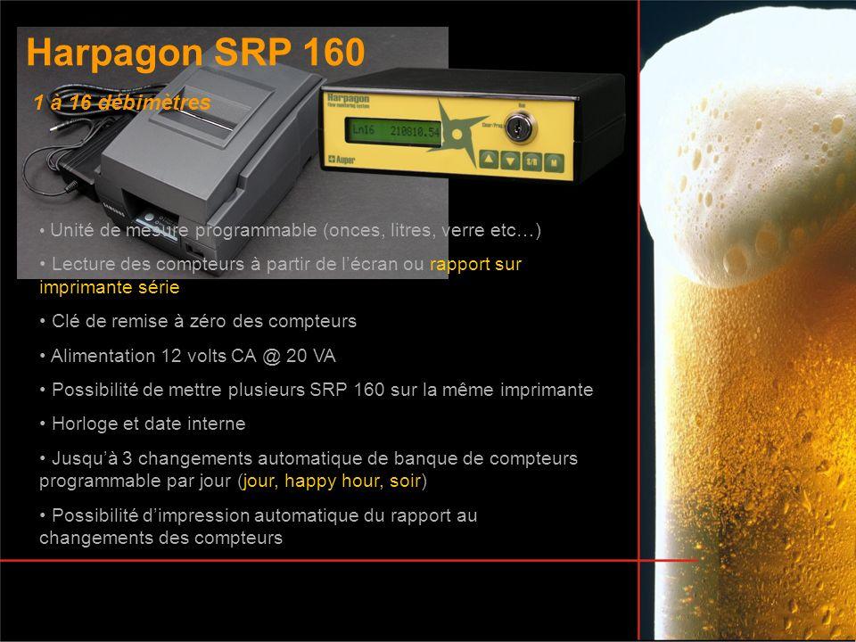 Harpagon SRP 160 Unité de mesure programmable (onces, litres, verre etc…) Lecture des compteurs à partir de lécran ou rapport sur imprimante série Clé