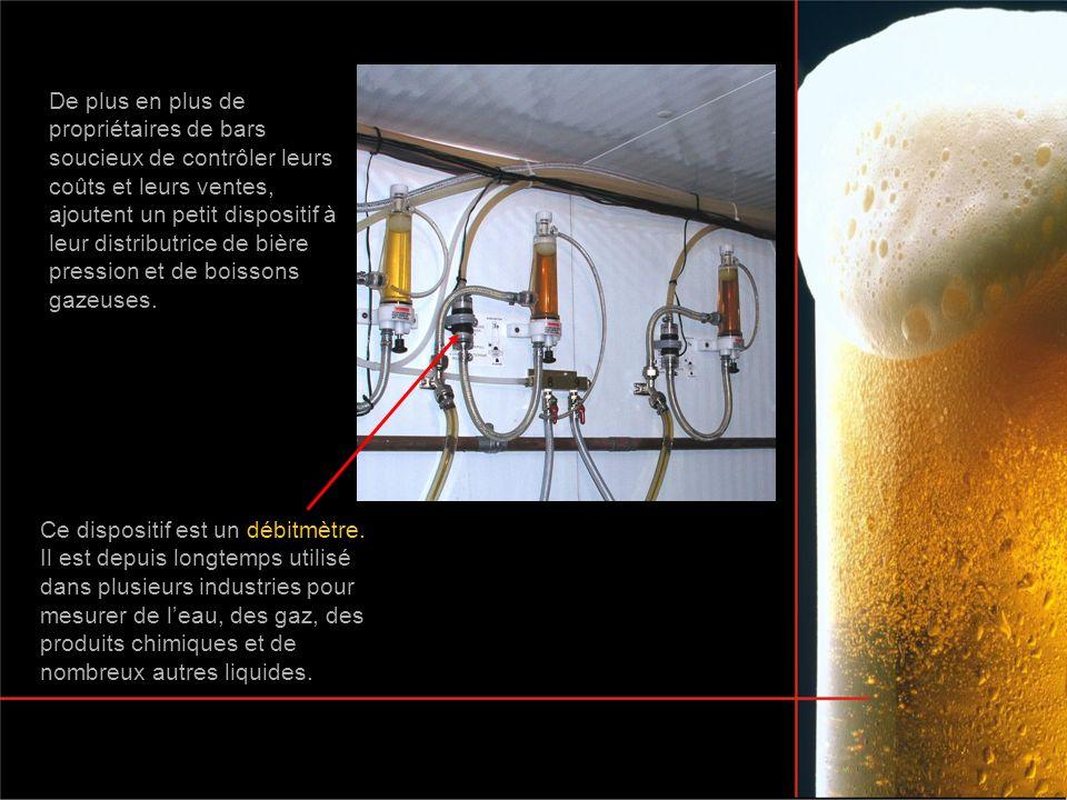 De plus en plus de propriétaires de bars soucieux de contrôler leurs coûts et leurs ventes, ajoutent un petit dispositif à leur distributrice de bière pression et de boissons gazeuses.