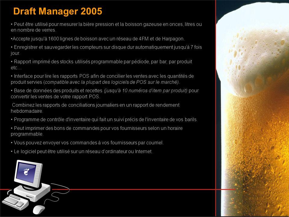 Peut être utilisé pour mesurer la bière pression et la boisson gazeuse en onces, litres ou en nombre de verres. Accepte jusqu'à 1600 lignes de boisson