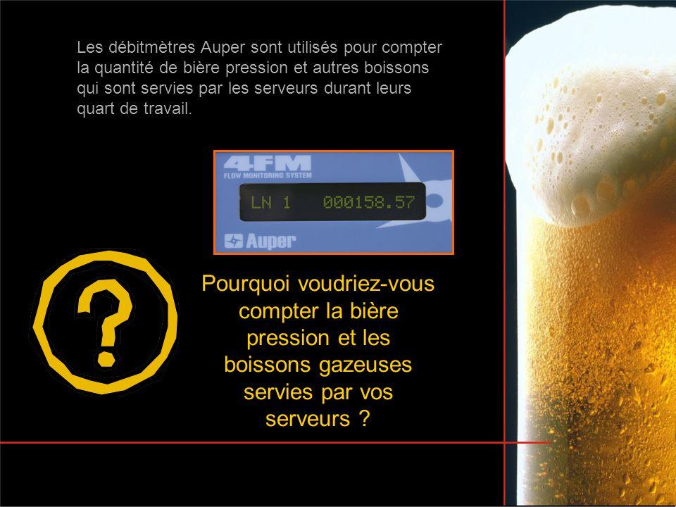 Les débitmètres Auper sont utilisés pour compter la quantité de bière pression et autres boissons qui sont servies par les serveurs durant leurs quart de travail.