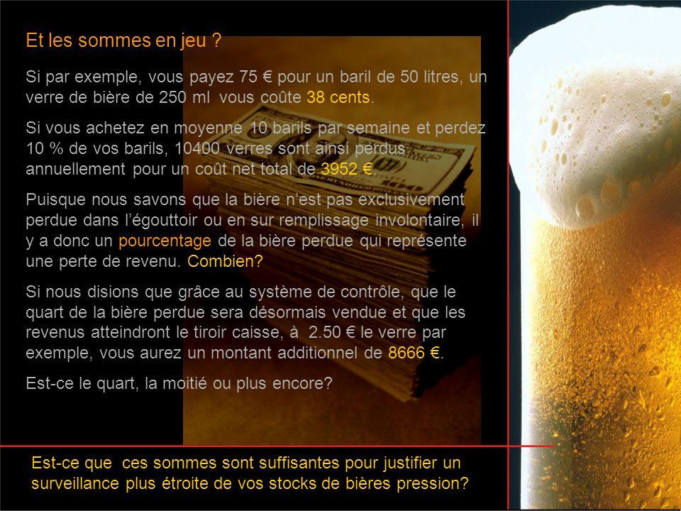 Et les sommes en jeu ? Si par exemple, vous payez 75 pour un baril de 50 litres, un verre de bière de 250 ml vous coûte 38 cents. Si vous achetez en m