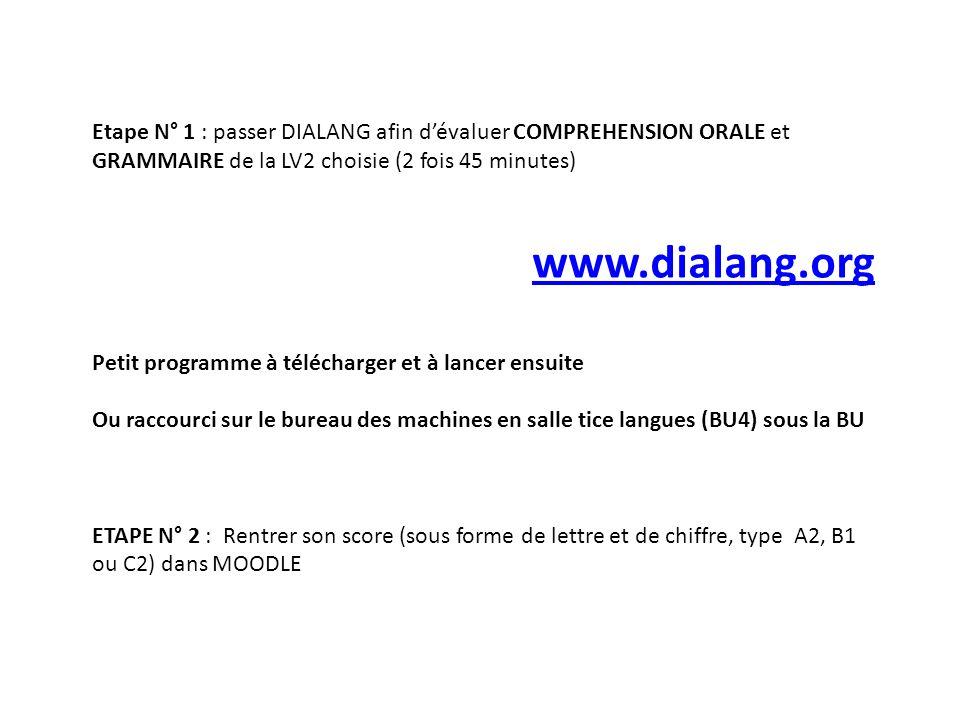 Etape N° 1 : passer DIALANG afin dévaluer COMPREHENSION ORALE et GRAMMAIRE de la LV2 choisie (2 fois 45 minutes) www.dialang.org Petit programme à tél
