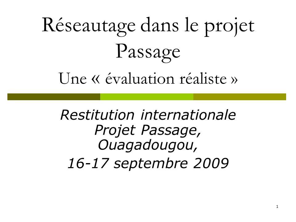 1 Réseautage dans le projet Passage Une « évaluation réaliste » Restitution internationale Projet Passage, Ouagadougou, 16-17 septembre 2009