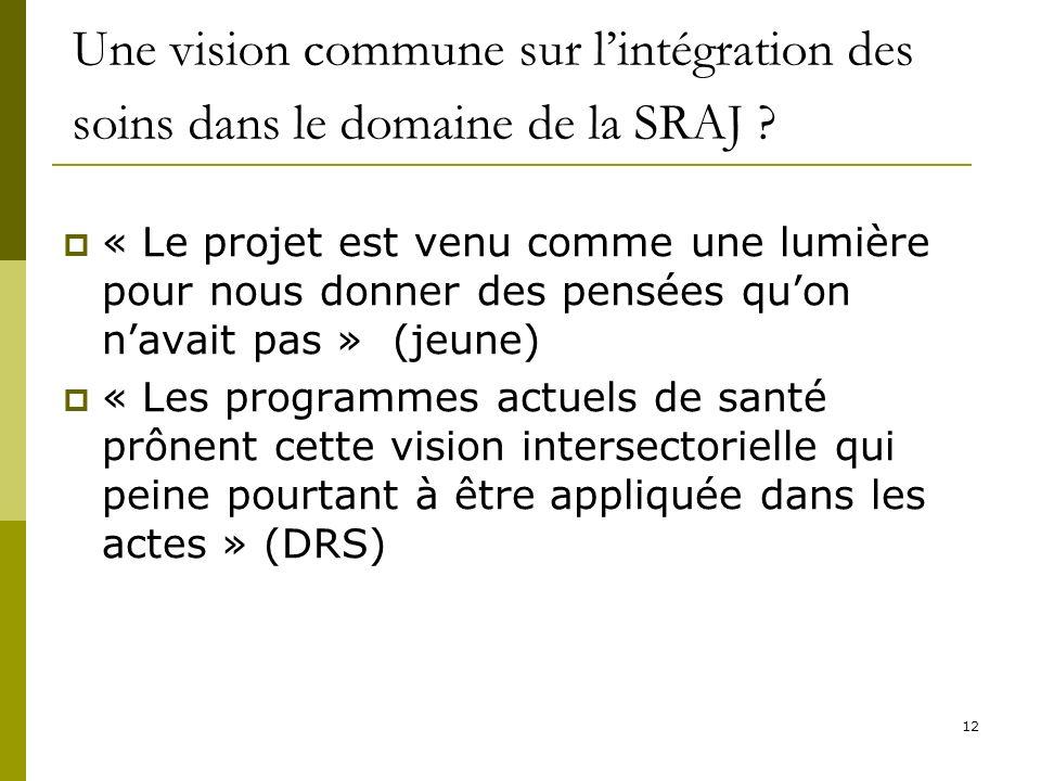 12 Une vision commune sur lintégration des soins dans le domaine de la SRAJ ? « Le projet est venu comme une lumière pour nous donner des pensées quon