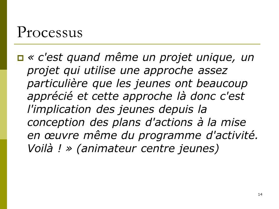 14 Processus « c est quand même un projet unique, un projet qui utilise une approche assez particulière que les jeunes ont beaucoup apprécié et cette approche là donc c est l implication des jeunes depuis la conception des plans d actions à la mise en œuvre même du programme d activité.