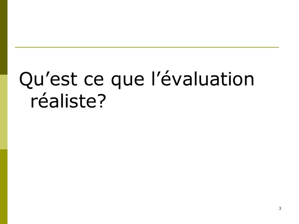 3 Quest ce que lévaluation réaliste?
