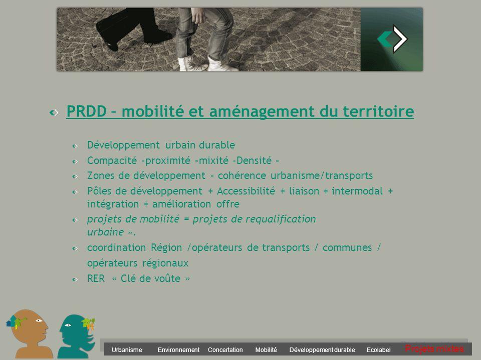 Urbanisme Environnement Concertation Mobilité Développement durable Ecolabel Projets mixtes PRDD – mobilité et aménagement du territoire Développement