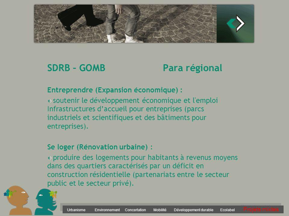 Urbanisme Environnement Concertation Mobilité Développement durable Ecolabel Projets mixtes SDRB – GOMB Para régional Entreprendre (Expansion économiq