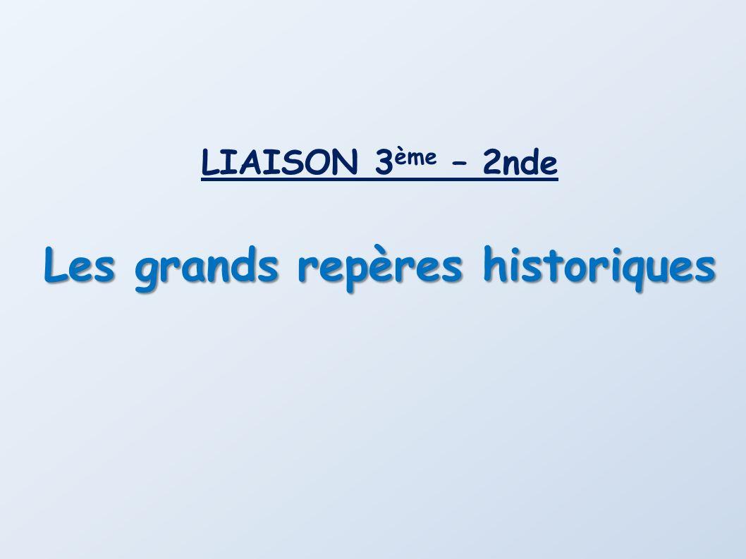 Antiquité Moyen Age Temps Modernes Période Contemporaine 47614921789 Note : pour les frises suivantes, les repères abordés en seconde sont sur fond rouge.